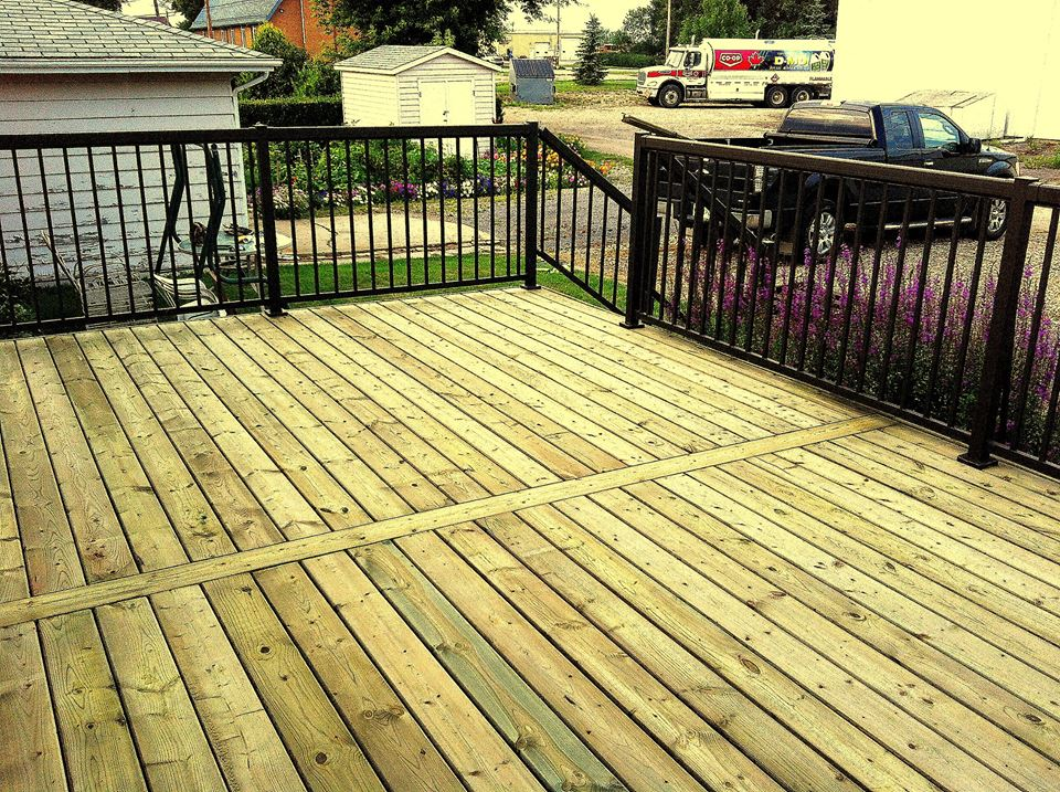 Standard Pressure Treated Deck black aluminum railing